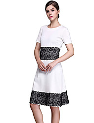 Womens Elegant Lace Summer Contrast Patchwork Cutout Tunic Work office Vintage Casual Party A Line Dress