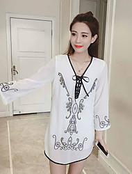Women's Going out Shift Dress,Embroidery V Neck Above Knee Long Sleeve Polyester Taffeta Spring High Rise Inelastic Thin