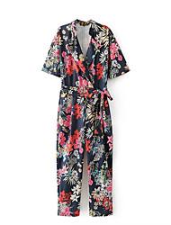 Для женщин Уличный стиль На выход На каждый день Комбинезоны,Со стандартной талией Свободные Чистый цвет В полоску Цветочный С принтом