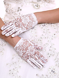 DIY Pearls and Rhinestones With Delicate Lace Wrist Length Fingertips Flower Girl's Gloves Kids Children's Glove