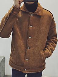 Masculino Casaco Acolchoado,Simples Sólido Casual-Lã Sem Enchimento Manga Longa