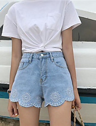 Women's High Waist Inelastic Straight Shorts Pants,Chinoiserie Straight Denim Solid
