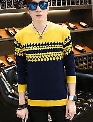 Men's Casual Regular Pullover,Striped Round Neck Long Sleeve Acrylic Fall Medium Micro-elastic