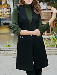 Women's Casual/Daily Simple Fall Winter Vest,Solid V Neck Sleeveless Long Polyester