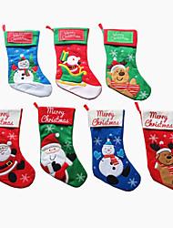 Christmas Stocking Santa Claus Socks Ornament Candy Bag Christmas Tree Hang Pendant Decoration Supplies Gift(Style random)