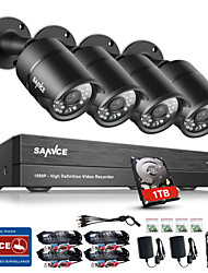 Sannce® 8ch cctv система безопасности onvif 1080p ahd / tvi / cvi / cvbs / ip 5-in-1 dvr с камерами 4 * 2.0mp с 1tb hdd