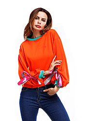 Sweatshirt Femme Quotidien Décontracté Plein Air Mosaïque Col Arrondi strenchy Polyester Manches longues Printemps Automne Hiver