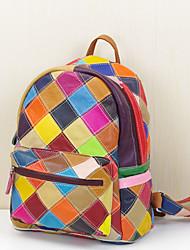 Women Backpack Cowhide All Seasons Casual Bucket Zipper Rainbow