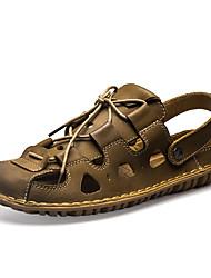 Herren Sandalen Leuchtende Sohlen Leder Sommer Normal Upstream Schuhe Leuchtende Sohlen Schnürsenkel Flacher Absatz Braun Khaki Flach
