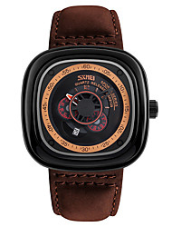 Men's Wrist watch Quartz Genuine Leather Band Black Brown