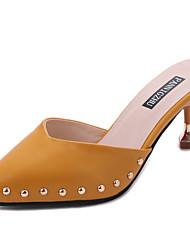 Women's Slippers & Flip-Flops Comfort Light Soles PU Summer Casual Dress Comfort Light Soles Beading Kitten Heel Yellow Beige 1in-1 3/4in