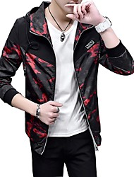 Men's Daily Casual Nature Inspired Casual Spring/Fall Autumn/Fall Jacket,Color Block Hooded Long Sleeve Regular Polyester Taffeta