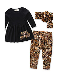 Girls' Animal Print Sets,Cotton Spring Fall Long Sleeve Clothing Set