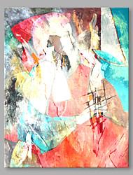 Peint à la main Abstrait Format Vertical,Abstrait Moderne/Contemporain Bureau / Affaires Un Panneau Toile Peinture à l'huile Hang-peint