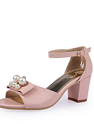 Damen Sandalen Pumps PU Sommer Kleid Party & Festivität Pumps Schleife Blockabsatz Weiß Rosa 5 - 7 cm