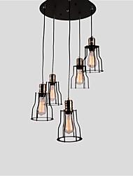 5 tête millésime noir cage en métal lucarne pendentif luminaire salon salle à manger luminaires