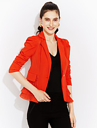 Höst Enfärgad Långärmad Plusstorlek Blazer Dam Spetsslag Polyester Medium Rosa / Vit / Svart / Orange