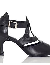 Damen Tanz-Turnschuh Leder Sandalen Sneakers Im Freien Blockabsatz Schwarz 5 - 6,8 cm