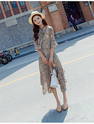Women's Casual/Daily Loose Dress,Floral Crew Neck Midi 3/4 Length Sleeve Polyester Summer Mid Rise Micro-elastic Thin