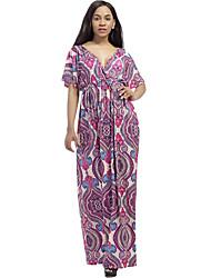 Women's Doublue V Neck Plus Size Beach Boho Prrint Thailand Style Loose Shout Sleeve Maxi Dress