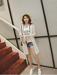 Women's Going out Casual/Daily Mesh Casual Summer Jacket,Solid V Neck Long Sleeve Long Others Mesh