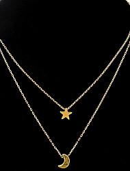 Mujer Collares con colgantes Collares de cadena Collares en capas Forma de Estrella Luna Legierung Diseño Único Colgante Diamantes