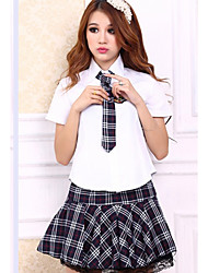 Cute Girl Cosplay Party Costume Student/School Uniform Career Costumes Festival/Holiday Halloween Costumes Plaid Cravat Shirt Skirt