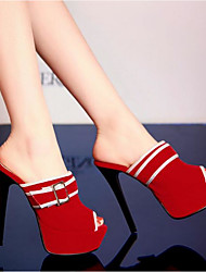 Damen Sandalen Komfort PU Frühling Normal Komfort Blockabsatz Keilabsatz Stöckelabsatz Rot Blau Flach