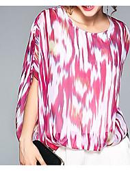 Damen Druck Einfach Lässig/Alltäglich T-shirt,Rundhalsausschnitt Kurzarm Seide