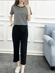 Chemise Pantalon Costumes Femme,Autre Autre Décontracté simple Eté Manches Courtes Col Arrondi non élastique
