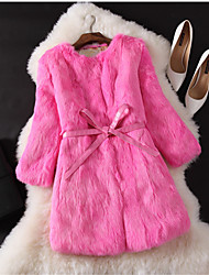 Women's Wedding Party Special Occasion Anniversary Birthday Gift Work Casual Autumn/Fall Autumn Fur Coat,Solid Round Neck3/4 Length