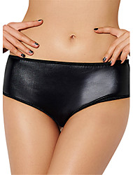Women's Sexy PU Leather Lingerie Ultra-thin Briefs Low Waist Nightwear Panties Plus Size M-6XL