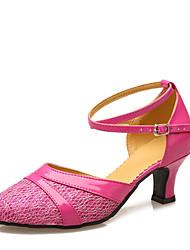 "Women's Modern Customized Materials Leatherette Heels Indoor Splicing Customized Heel Brown Fuchsia Purple Gold 2"" - 2 3/4"" Customizable"