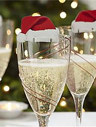 10 Piece/Set Table Place Cards Christmas Santa Hat Wine Glass Decoration