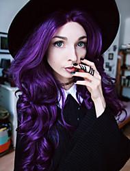 Mujer Pelucas sintéticas Encaje Frontal Largo Ondulado Natural Morado Peluca natural Las pelucas del traje
