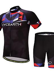 Camisa com Shorts para Ciclismo Homens Moto Conjuntos de Roupas Ventilação Secagem Rápida Bolso Traseiro Primavera/Outono Verão