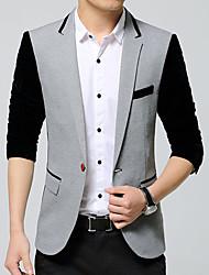 Men's Casual/Daily Work Simple Vintage Spring/Fall BlazerColor Block Shirt Collar Long Sleeve Regular Cotton Acrylic k494