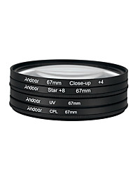 Andoer 67mm UV CPL Close-Up4 Star 8-Point Filter Circular Filter Kit Circular Polarizer Filter Macro Close-Up Star 8-Point Filter with Bag for Nikon