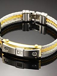 Homme Bracelets Rigides Gothique bijoux de fantaisie Mode Pierre Acier inoxydable Forme Ronde Bijoux Pour Soirée Anniversaire Fête/Soirée