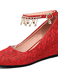 Femme Chaussures à Talons Confort Gladiateur Similicuir Eté Automne Mariage Confort Gladiateur Talon Compensé Blanc Rouge 5 à 7 cm
