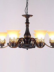 Six Heads Amercian Countryside Vintage Metal with Glass Pendant Lamp for the Canteen Room / Living Room / Entry / Foyer Decorate Drop Lamp