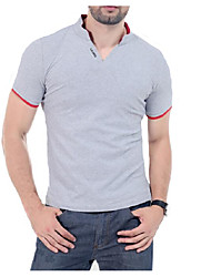 Herren Solide Chinoiserie Lässig/Alltäglich T-shirt,Stehkragen Sommer Kurzarm Baumwolle Dünn