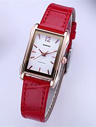 Mulheres Relógio de Moda Quartzo Couro Borracha Banda Vermelho