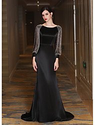 Rehearsal Dinner Formal Evening Dress - Elegant Lace-up Trumpet / Mermaid Jewel Sweep / Brush Train Satin Taffeta with Tassel(s) Bandage