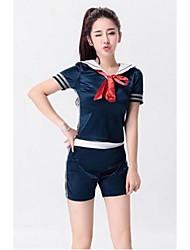 Costumes de Pom-Pom Girl Tenue Femme Spectacle Polyester Lacet 2 Pièces Manche courte Taille haute Hauts Short