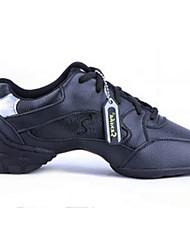 Women's Modern Cowhide Flats Heels Practice Black White