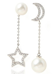 Drop Earrings New Mismatching Asymmetry Earrings Fashion Pearl Moon Star Shape Rhinestone For Women Movie Gift Jewelry