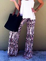 Mujer Sexy Adorable Sencillo Tiro Medio Microelástico Chinos Pantalones,Corte Ancho Estampado