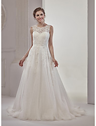 A-Line Illusion Neckline Court Train Lace Tulle Wedding Dress with Appliques Lace by MDHS