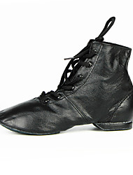 Women's Dance Shoes Leather Leather Latin /Modern Sneakers Chunky Heel Practice